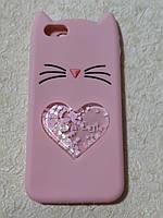 Чехол накладка    Cat  с блестками  для  iPhone 6 (розовый)