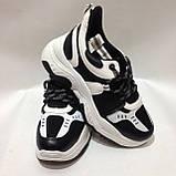 36,38 Кросівки жіночі чорні з білим на товстій підошві, фото 2