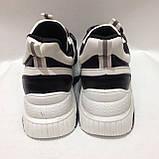 36,38 Кросівки жіночі чорні з білим на товстій підошві, фото 8