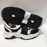 36,38 Кросівки жіночі чорні з білим на товстій підошві, фото 4