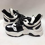 36,38 Кросівки жіночі чорні з білим на товстій підошві, фото 5