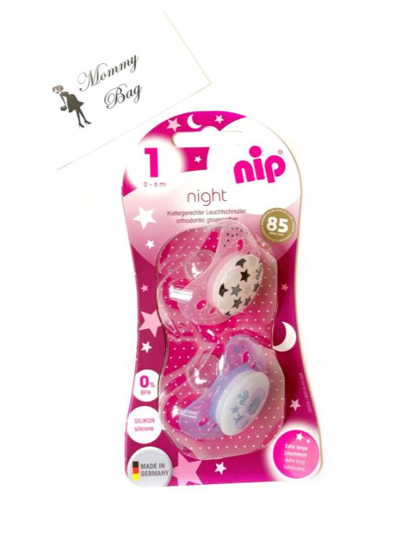 Пустышка Nip Моя семья Ночные, 0-6 мес., силикон, для девочки, 2 шт.