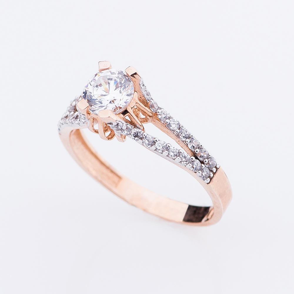 Помолвочное Золотое кольцо GS (фианиты)