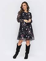 Шифоновое платье-трапеция черное вечернее с принтом растений и цветов 44 46 48 50 52+