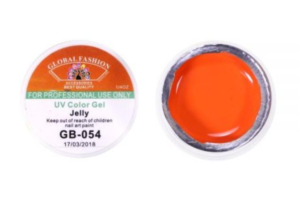 Гель-краска для дизайна ногтей Global Fashion,7мл , №054 - Оранжевая