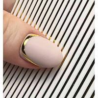 Гибкая лента на липкой основе для дизайна ногтей, золото