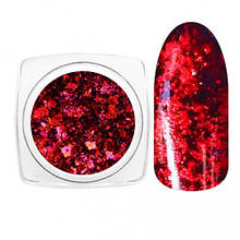 Втирка Пластівці юкі для дизайну нігтів, Червона