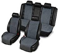 Накидка на сидения из алькантары серые, широкие, полный комплект