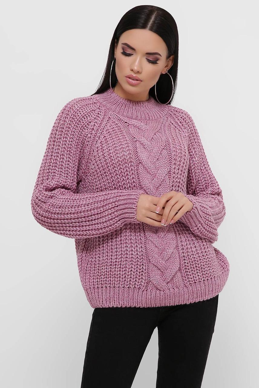 Бузковий жіночий светр великої в'язки 42-46рр.