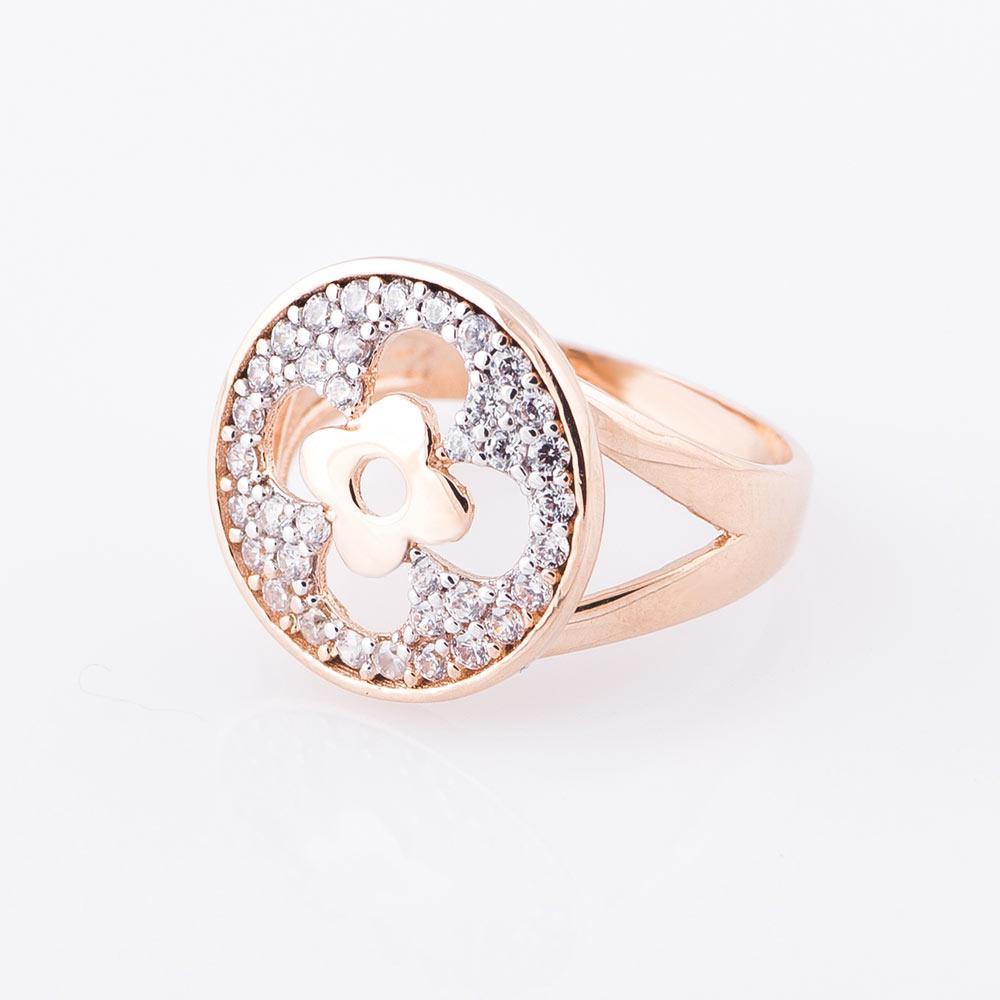 """Золотое кольцо GS с фианитами """"Клевер"""""""