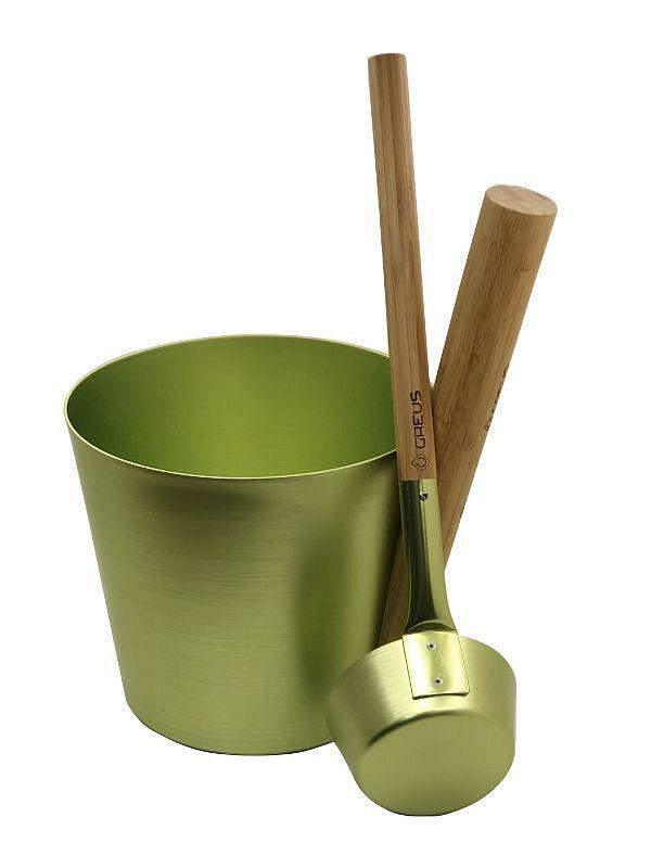Набор GREUS сталь (шайка + черпак), зеленый для бани и сауны