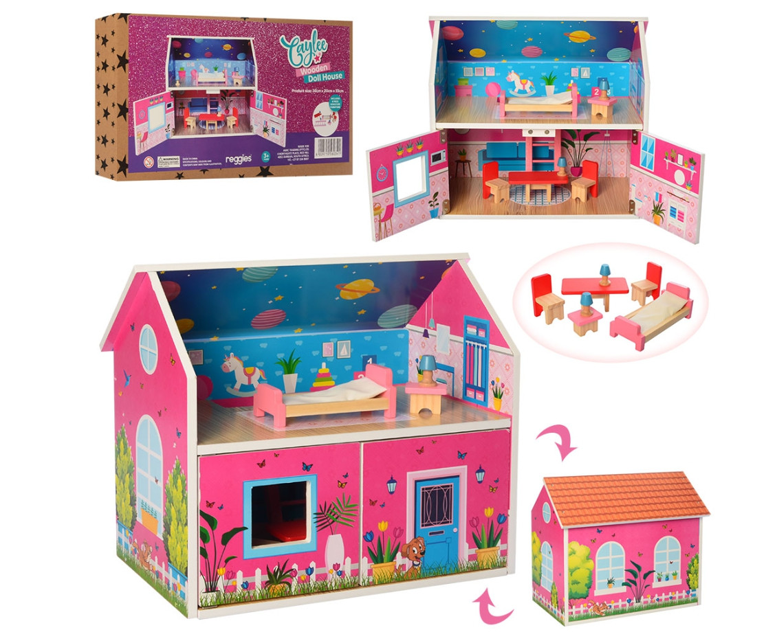 Деревянный домик для кукол MD 2158 с мебелью