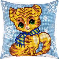Котеня взимку — Чарівниця (подушки) подушка хрестиком 40×40 см