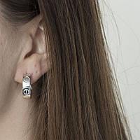 Серебряные серьги-кольца GS