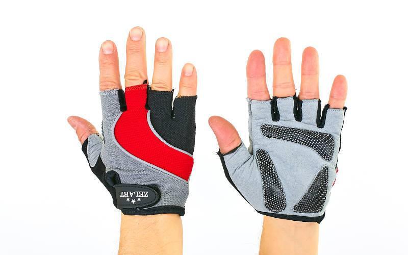 Велоперчатки с открытыми пальцами Zelart (размер S-L) Красный M PZ-ZG-6118_1