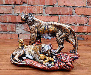 Семья тигров декор «бронза» h27 см гипс