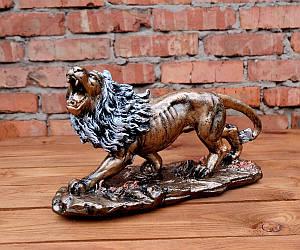 Рычащий лев статуэтка декор «бронза» h23 см гипс