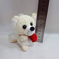 """М'яка іграшка """"мишеня з шарфом""""9*6см,колір молочний, фото 1"""