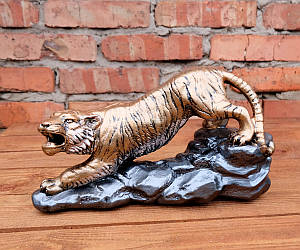 Тигр рычащий статуэтка декор «бронза» h19,5 см гипс
