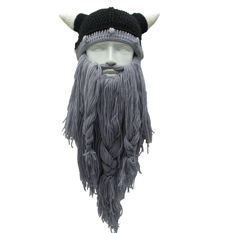 Зимняя шапка викинга с шапкой рогами и длинной бородой