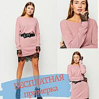 Женское платье нежно розовое свободного кроя мини с кружевом