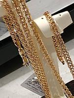 XUPING Цепочка Позолота 18к плетение двойной бисмарк ромб с насечками Длина 45 см Ширина 4 мм