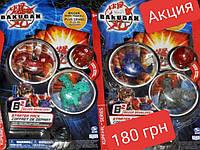 Набор Бакуган Bakugan 3 шт, герой,  карточки