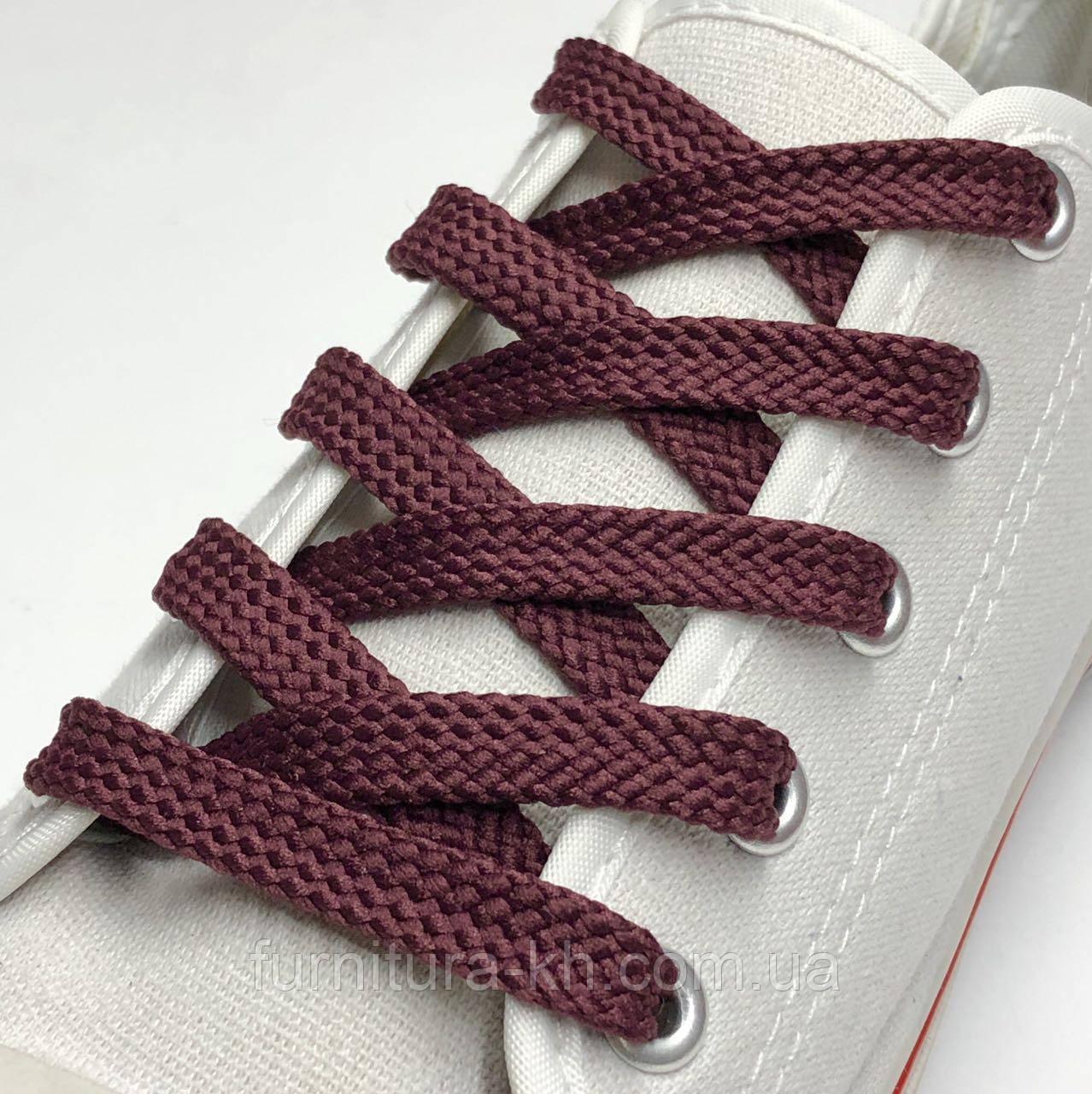 Шнурок Простой Плоский Длинна 0,70 см  цвет Бордо (ширина 7 мм)