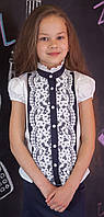 Блуза школьная Свит блуз нарядная с кружевом мод.7071к 128, фото 1