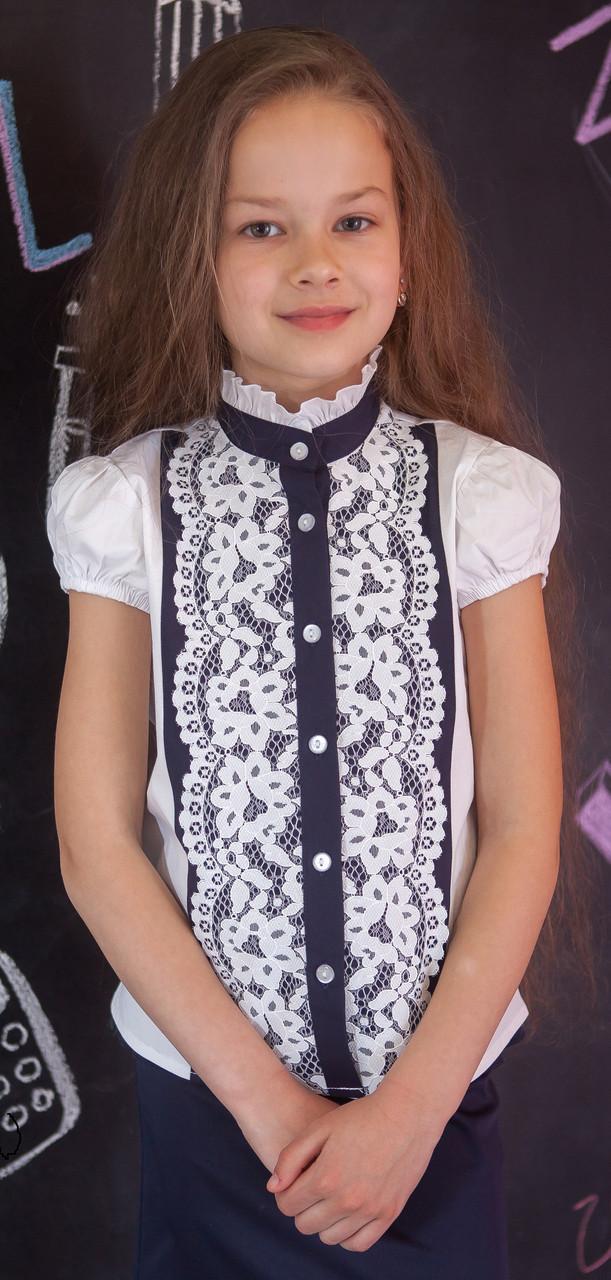 Блуза шкільна Світ блуз ошатна з мереживом мод.7071к 140