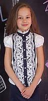 Блуза шкільна Світ блуз ошатна з мереживом мод.7071к 140, фото 1