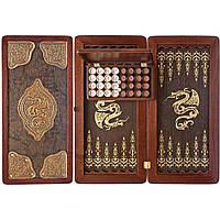 Нарды Гранд Презент средние Золотой дракон №2 51х51 см (31165)