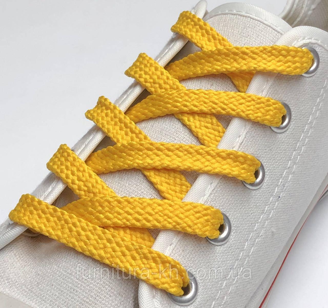 Шнурок Простой Плоский Длинна 0,70 см  цвет Желтый (ширина 7 мм)