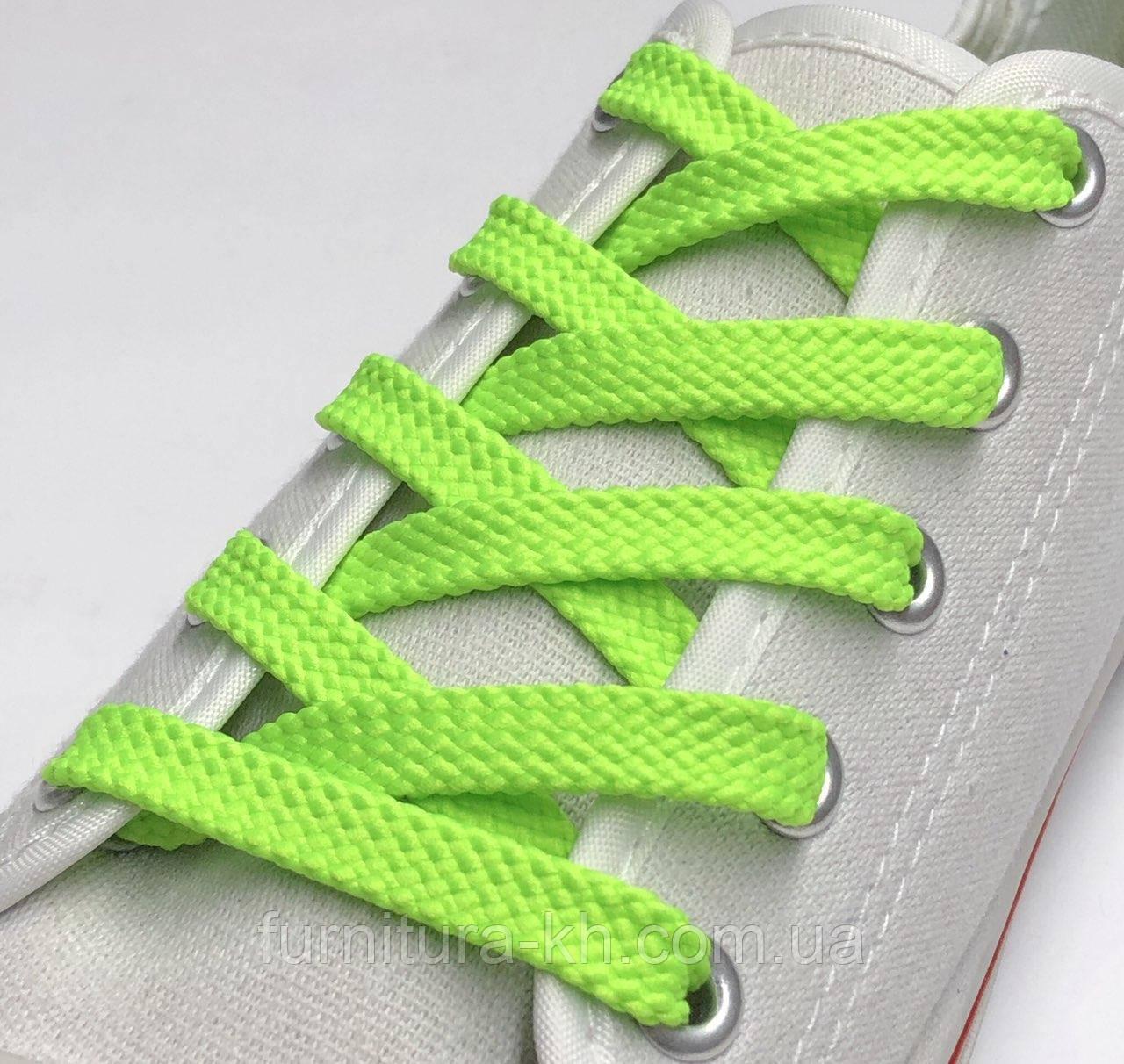 Шнурок Простой Плоский Длинна 1 метр  цвет Салатовый (ширина 7 мм)