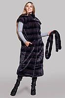 Женский жилет меховой из стриженной эко-норки без капюшона 46-54 р цвет графит
