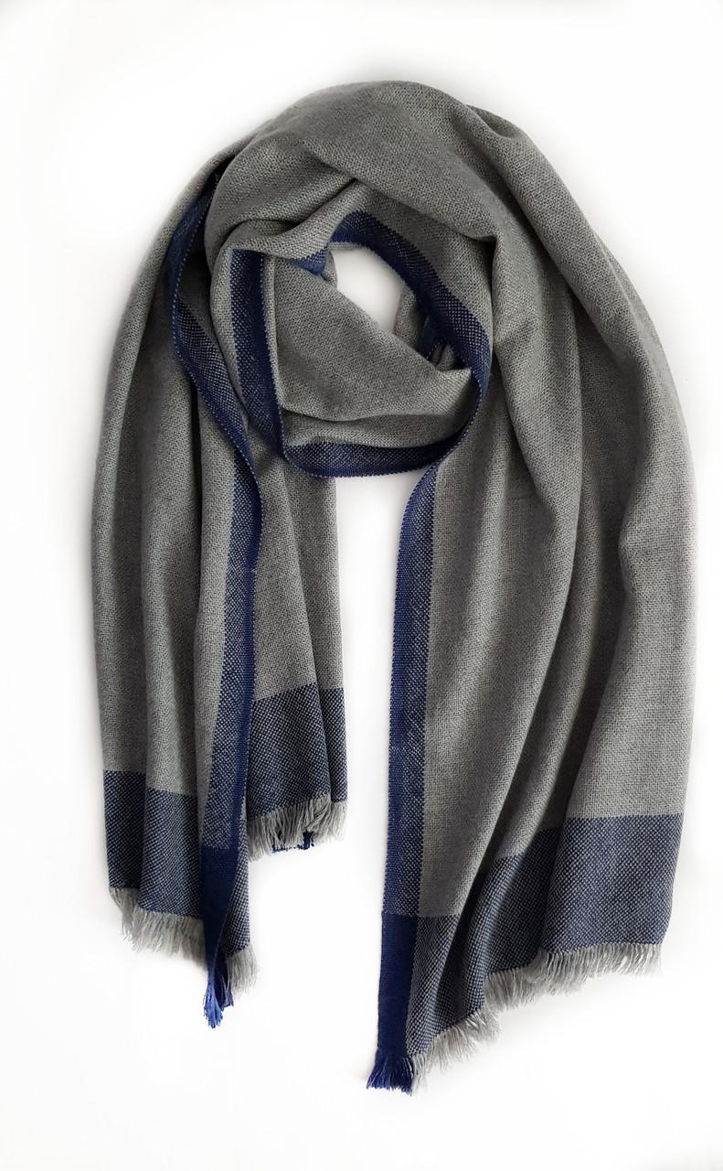 Кашемировый шарф Chadrin серый с синими полосками