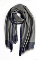 Кашемировый шарф Chadrin серый с синими полосками, фото 1