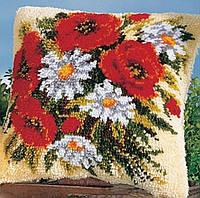 """Набор ковровой вышивки (ковровая техника) """"Полевой букет """",вязания крючком,пряжа,подушка, 40х40 см"""