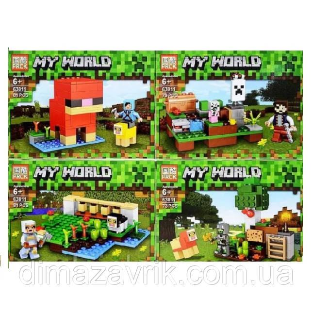 """Конструктор Lele 63011 (Аналог Lego Minecraft 21153) """"Шерстяная ферма 4в1"""" 314 деталей"""