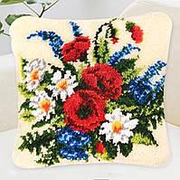 """Набор ковровой вышивки (ковровая техника) """"Праздничный букет  """",вязания крючком,пряжа,подушка, 40х40 см"""