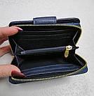 Женский синий кошелек из натуральной кожи, фото 3