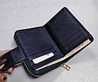 Женский синий кошелек из натуральной кожи, фото 9