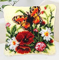 """Набор ковровой вышивки (ковровая техника) """"Букет цветов с бабочками  """",вязания крючком,пряжа,подушка, 40х40 см"""