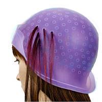 Профессиональная парикмахерская шапочка силиконовая розовая для мелирования и колорирования волос