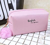 Косметичка English Pink c бубоном (розовая)