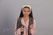 Пов'язка тепла модна з перлами і кришталевими намистинами Кольору біло молочний