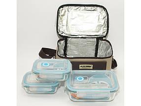 Термосумка + 3 судочка (2 х 400 мл + 1 х 1050 мл) стекло микроволновка