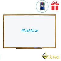 Доска магнитно-маркерная металлополимерная в деревянном профиле 90x60 см (Doski.biz)