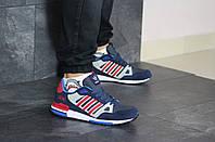 Мужские кроссовки темно синие с красным Adidas ZX 750 8350