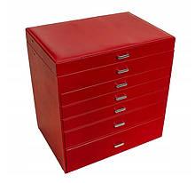Шкатулка для украшений  красная 48 отсеков 50-591R